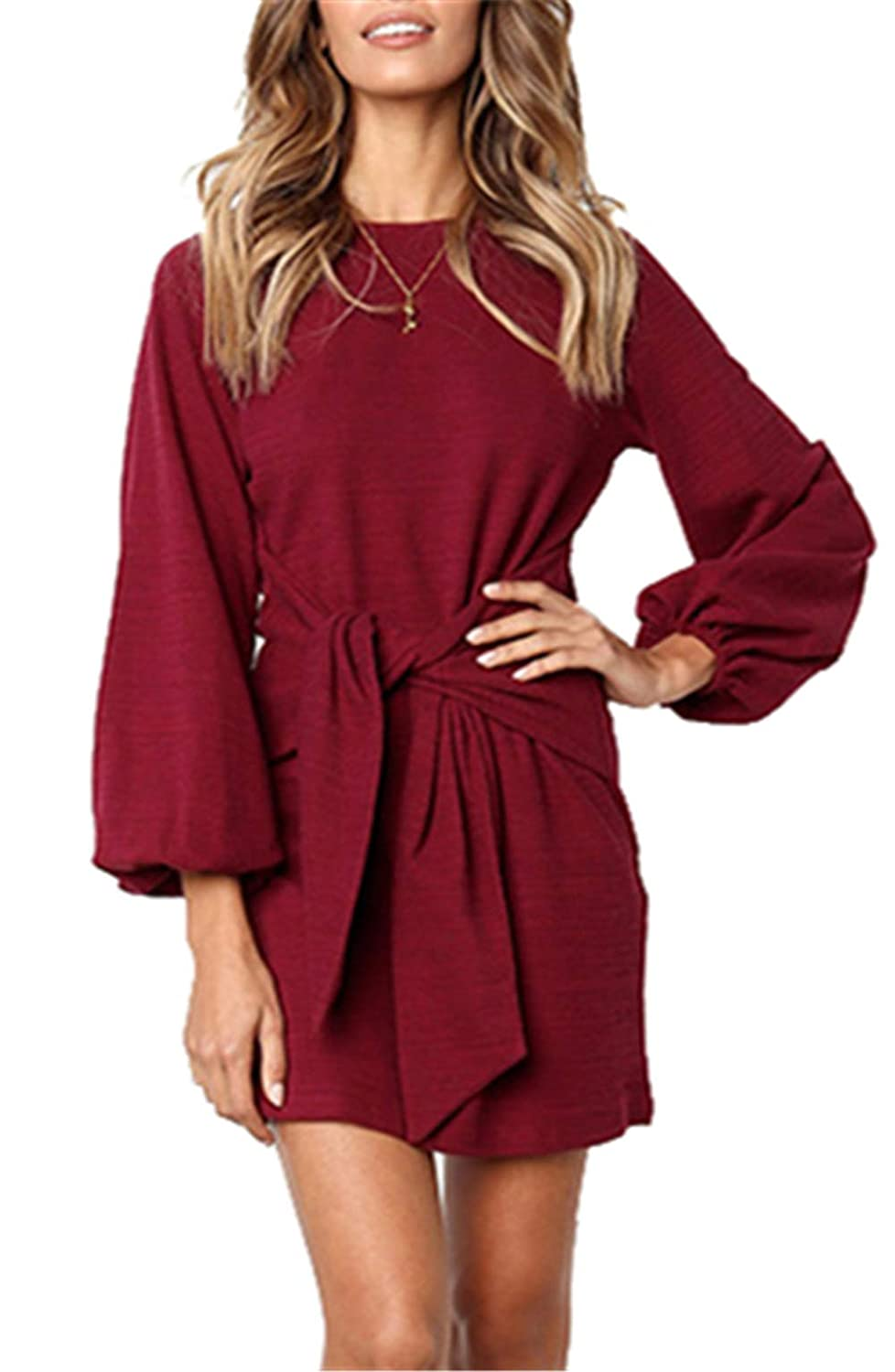 onlypuff Puff Sleeve Dresses for Women Belted Tie Front Pencil Tunic Dress Casual Round Neck Solid Color YS0187
