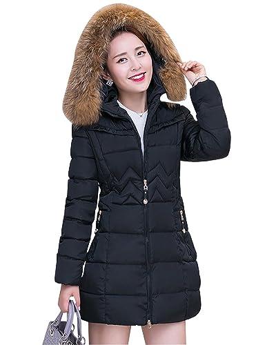 Abrigo Chaqueta Parka de Mujer con Capucha de Piel Sintética para Invierno