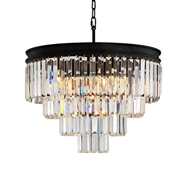 9 Light Modern Crystal Chandeliers Pendant Round Chandelier Ceiling Lighting Fixtures for Dining Living Room Foyer Kitchen Island Entryway Hallway 4-Tier by Antilisha