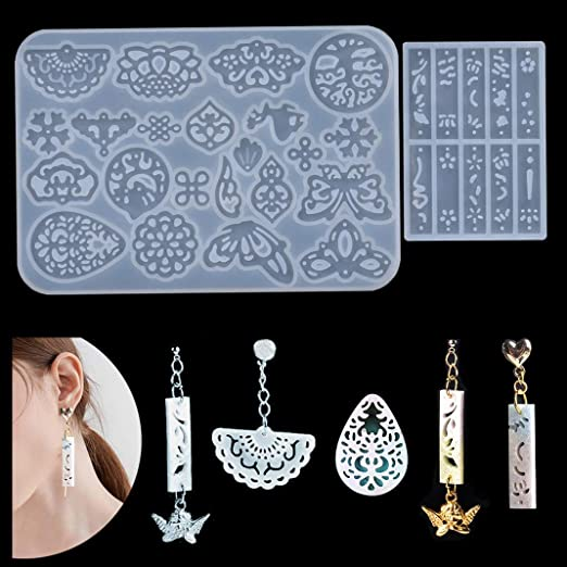 iSuperb 2 Pcs Silicone Resin Molds Crystal Epoxy Mold Earring Casting Molds for DIY Jewelry Earring Pendant Crafts