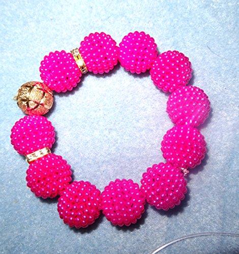 Rose Fuchsia avec boules or pour mariage mariée Fête du Nigeria africain perles bijoux