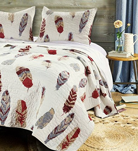 Finely Stitched Quilt Set with Sham Brushed Microfiber Feather Theme Print Design Lodge Log Cabin Bedding Ivory Red Grey Luxury Reversible Bedspread Single Twin Size - Includes Bed Sheet Straps (Face Cotton Fabric Quilted Single)