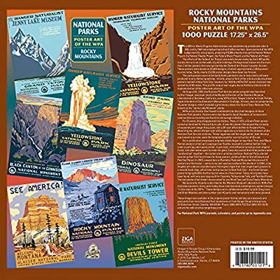 Rocky Mountains Group National Park Poster Art of The WPA 1000 Jigsaw Puzzle Games for Kids Adults Collector Item (Printed in USA): Toys & Games