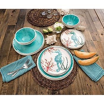 18 Piece Melamine Dinnerware Set Sealife Design (Teal Sea Horse)  sc 1 st  Amazon.com & Amazon.com | Dinnerware Seashell Ocean Beach Coastal Starfish Hand ...