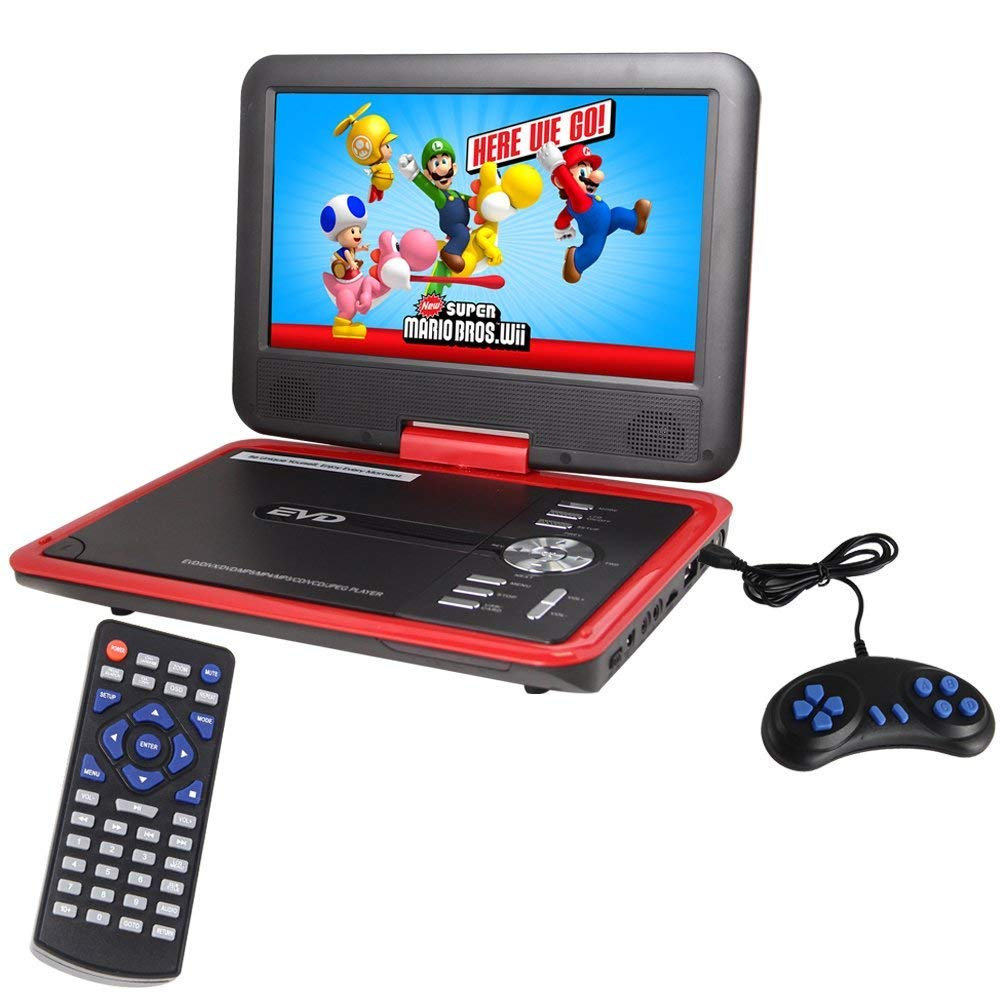 Buyee Handheld Portable DVD Player 9.5 Inch 270 Degree Swivel Screen Support Analog Tv/Vcd/cd/mp3/mp4/usb Sd Card Slot/Card Reader/Game/fm Radio with Game Controller and Remote Controller (Red)
