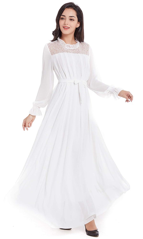 Queen Diana Damen Chiffon Gesticktes Party Lange Abschlussball Kleid Lange Ärmel Übergröße Abendkleid,DW015 (Weiß, XX-Large)
