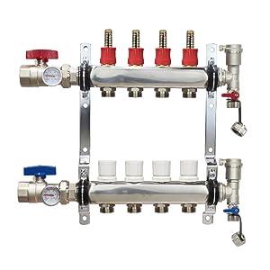 "4 Loop Stainless Steel Premium PEX Manifold With 1/2"" Connectors for Radiant Heating - PEX GUY (4 Loops)"
