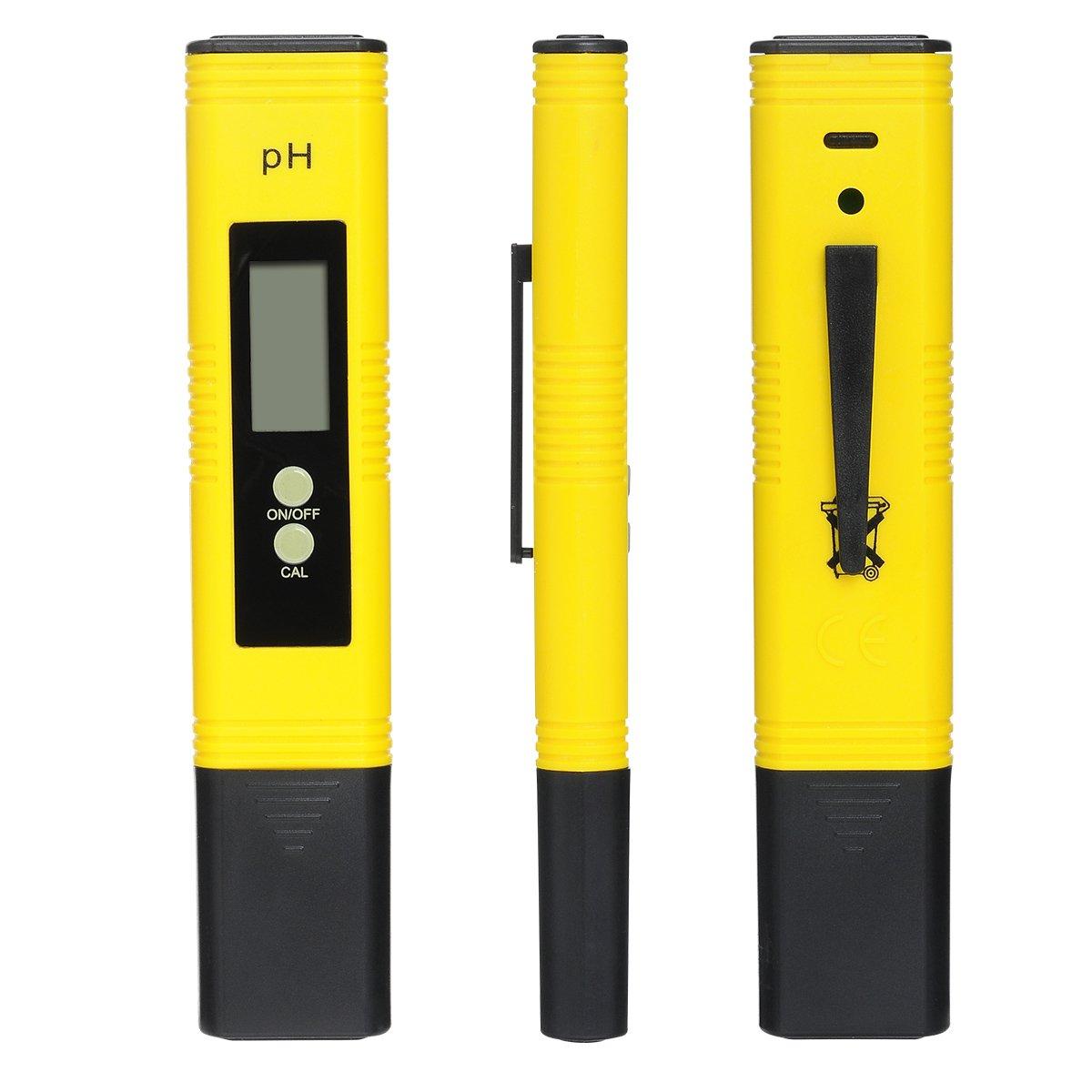 Macdodo PH-02- Tester digitale per controllare il pH dell'acqua in piscine, acquari, vasche idromassaggio, colture idroponiche, vino, pulsante di calibrazione, risoluzione 0.01, alta precisione +/-0,05, ampio display LCD Yellow