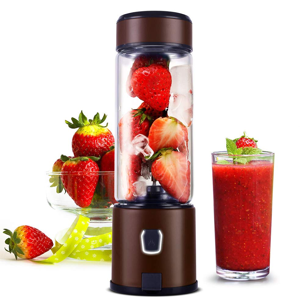 Portable Glass Smoothie Blender, H HUKOER S-POW Small PersonalPortable Travel USB Blender for Shakes and Smoothies with 5200mAh Rechargeable Battery, Juicer Cup Single Serve Fruit Mixer for Baby Food, FDA BPA Free, LED Light Design (Coffee)