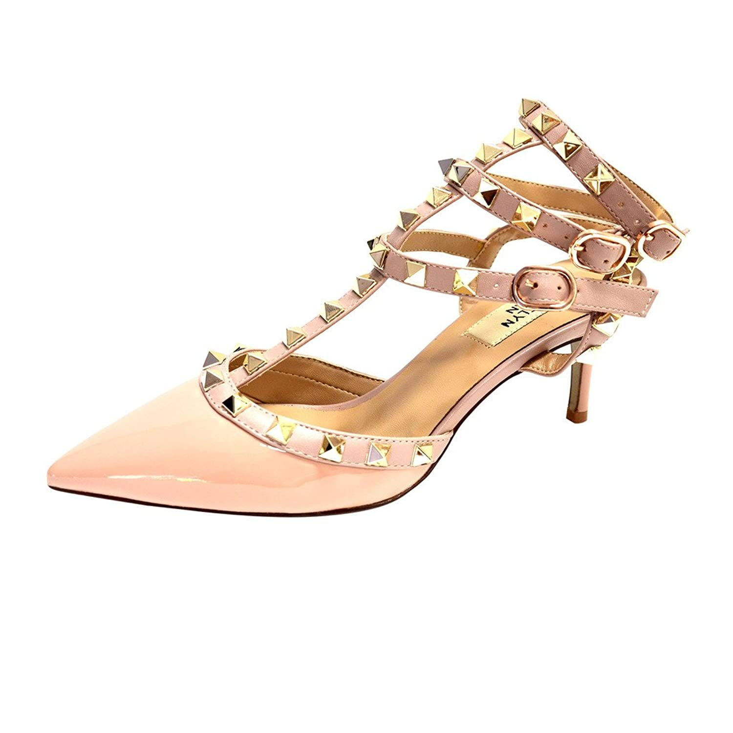 6c2efbfbfd0 Kaitlyn Pan Pointed Toe Studded Strappy Slingback Kitten Heel Leather Pumps  Sandals 30%OFF
