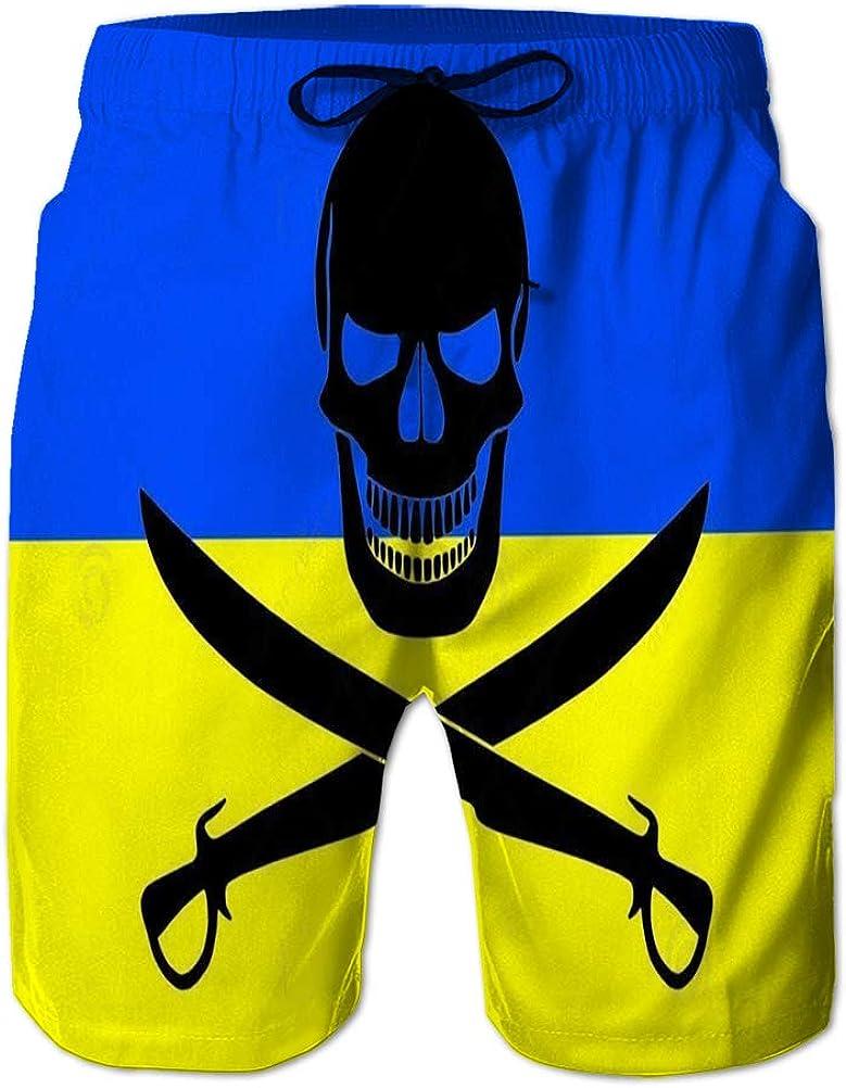 NA Mens Quick-Dry Swim Trunks Board Beach Shorts Pirate Flag Combined Ukrainian Black Image Jolly Roger Cutlasses