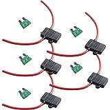 E Support 12 Gauge ATC Fuse Holder Box In-Line AWG Wire Copper 12V 30A Blade Standard Plug Socket Pack of 5