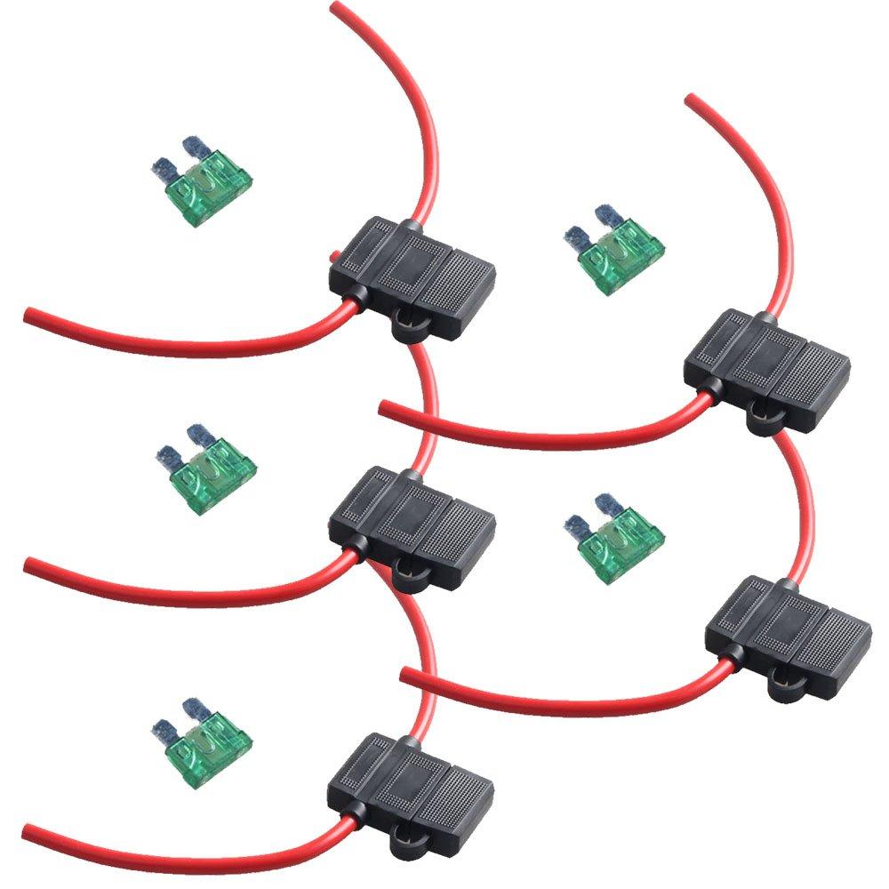 Galleon E Support 12 Gauge Atc Fuse Holder Box In Line Awg Wire Copper 12v 30a Blade Standard Plug Socket Pack Of 5