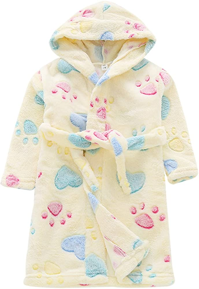 Aivtalk Boys Girls Long Sleeve Hoodies Plush Bath Towel with Cute Pattern Print Yellow
