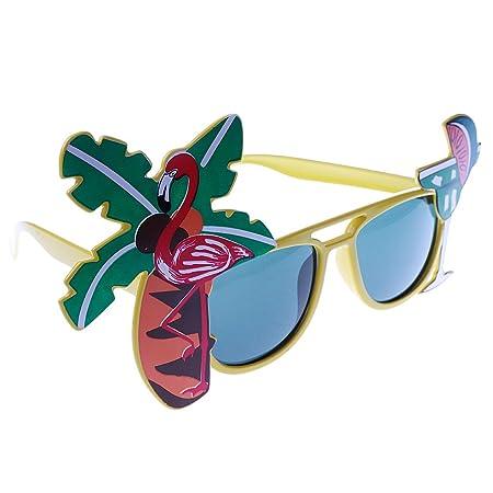 Juguetes Disfraces con Accesorios Gafas de Sol Cóctel Tropical Hawaiano Flamenco Vestido de Lujo Amarillo