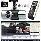 Indigi® HD Dual Camera Front+InCab Driving Recorder Car DVR GPS+Gravity Sensor FREE 32GB