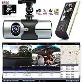 Indigi Dash Cam 2.7' LCD HD Dual Cam Car DVR Black Box w/GPS Tracker + G-Sensor + 32GB