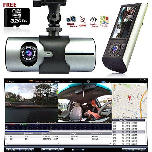 "M2CBridge Dash Cam 2.7"" LCD HD Dual Cam Car DVR Black Box w/"
