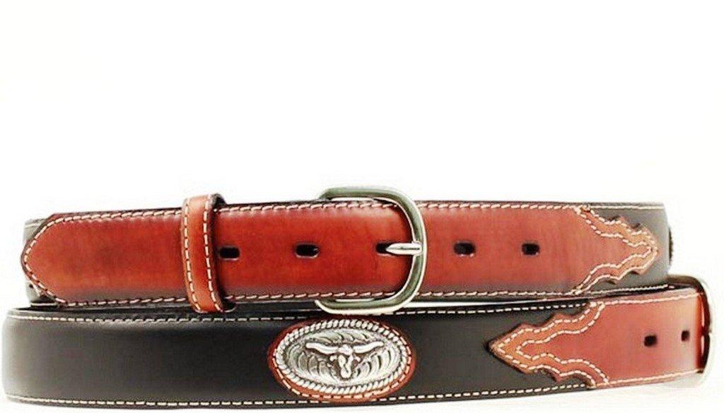 Nocona Boy's Steer Head Conchos Belt, Black, 24