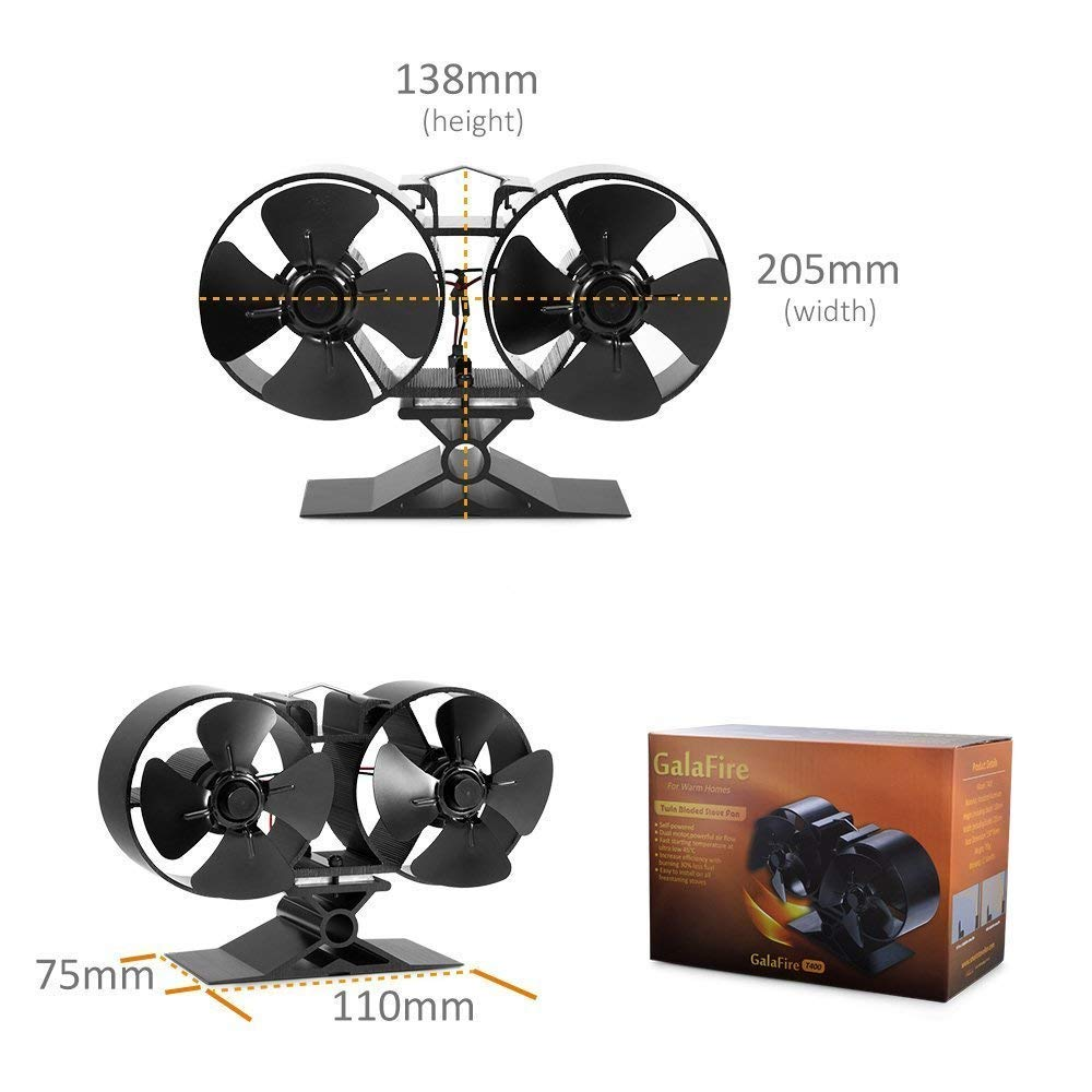 ST-02E 2 Years Warranty Wood Stove Fan 8 Blades Twin Motors Heat Powered Eco Stove Fan Fuel Cost Saving for Gas Coal Pellet Log Wood Burner Fireplace Accessories with Free Magnetic Stove Thermometer