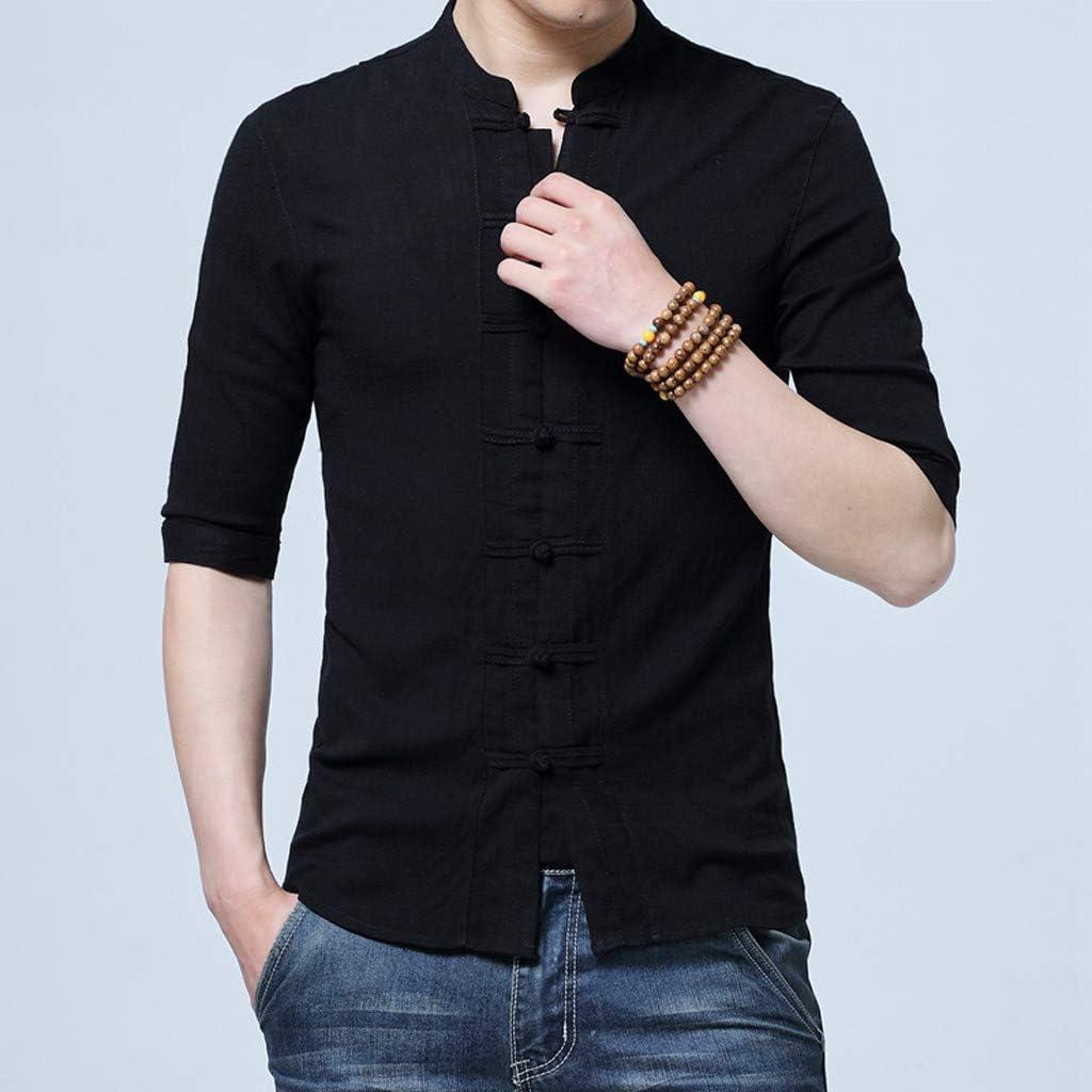 Moda Estate Uomo Cotone Lino Camicie Casual Bottoni Manica Corta Larga Camicetta