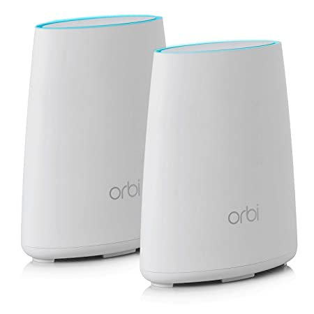Netgear Orbi RBK40 AC2200 Tri-Band Home Wi-Fi System with Router and Satellite Extender (White) Routers at amazon