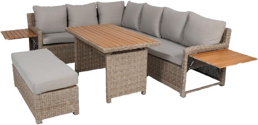 Greemotion Rattan Lounge Set Verona Loungemöbel Mit Esstisch Für Garten Terrasse Gartenmöbel Aus Polyrattan Braun Beige Outdoor Loungeset Mit
