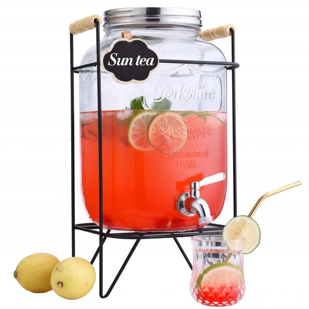 FZCRRDU KOCCAE Beverage Dispenser 2 Gallon,Clear Glass Drink Dispenser with Stainless Steel Spigot,drink dispenser with stand,Mason Jar drink dispenser