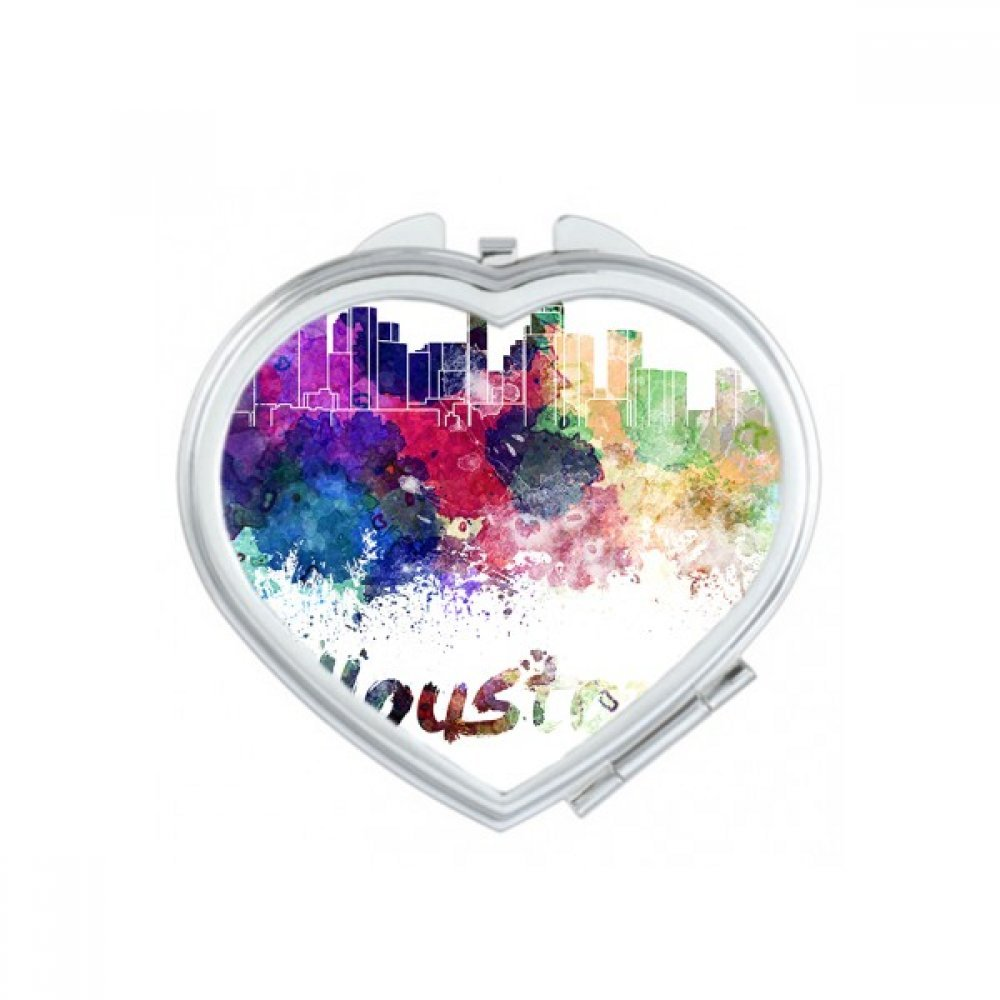 Houston America Country City Watercolor Illustration Heart Compact Makeup Pocket Mirror Portable Cute Small Hand Mirrors Gift