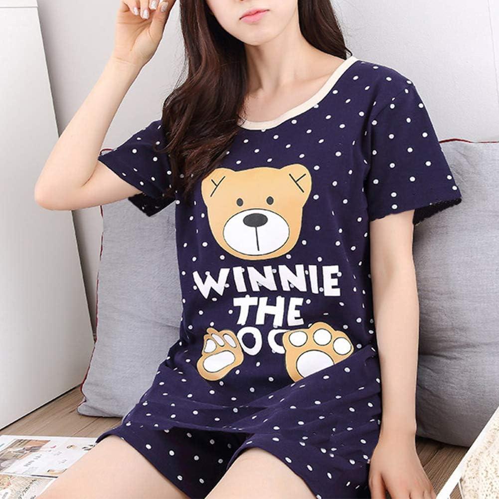 Asherbaby Big Girls Summer Cute Panda Printed Pajama Sets Soft Top and Shorts