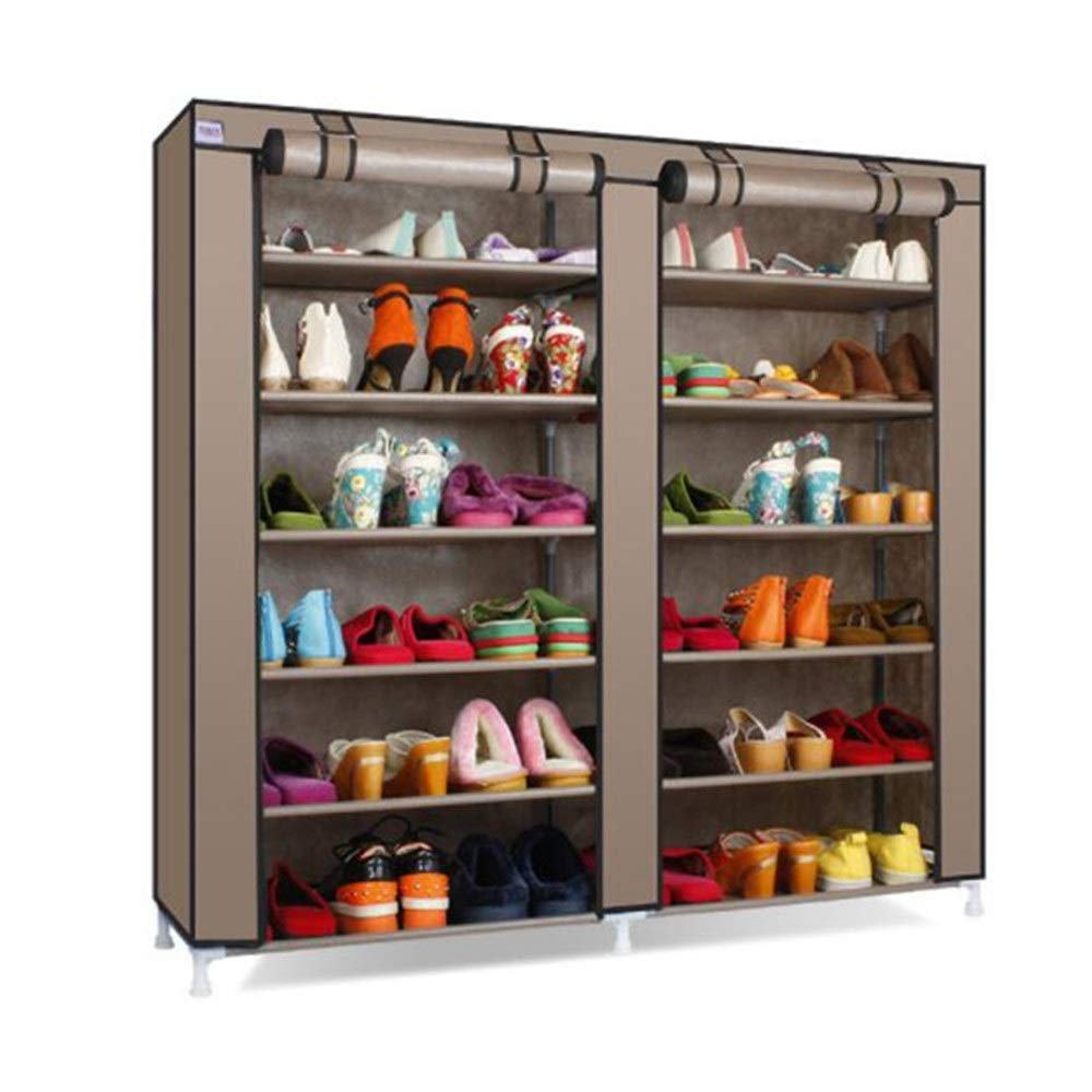 Jajx-hu Free Standing Clothes Storage Organizer Cloth Shoe Cabinet Can Put Boots Multilayer Iron Double Row Storage Dust Modern Simple Non-Woven Simple Shoe Shelf (Color : D, Size : Free Size) by Jajx-hu