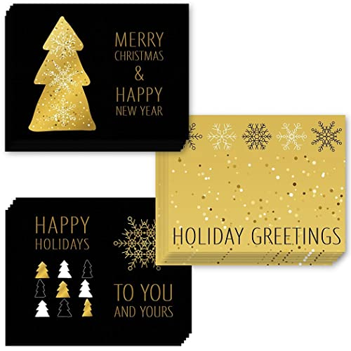 Amazon 48 christmas greeting cards 3 assorted elegant gold 48 christmas greeting cards 3 assorted elegant gold holiday notecards envelopes included seasons m4hsunfo