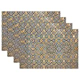 AIKENING Ornament Pattern Arabian Nights Mosaic Tiles Placemats Set Of 4 Heat Insulation Stain Resistant For Dining Table Durable Non-slip Kitchen Table Place Mats