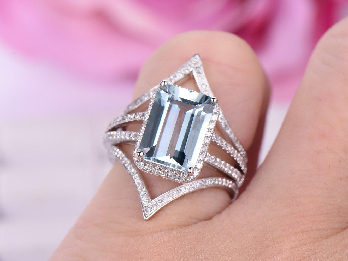 Amazon.com: Emerald Cut Aquamarine Engagement Ring Set Pave Diamond ...