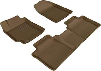 3D MAXpider Complete Set Custom Fit All-Weather Floor Mat for Select Toyota Camry Models Tan Kagu Rubber
