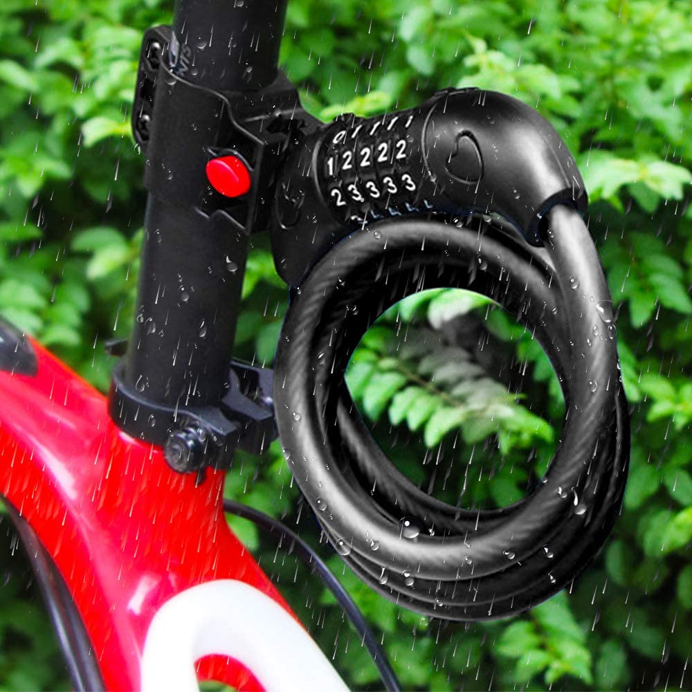 12 x 1000 mm con supporto Lucchetto a combinazione per bicicletta