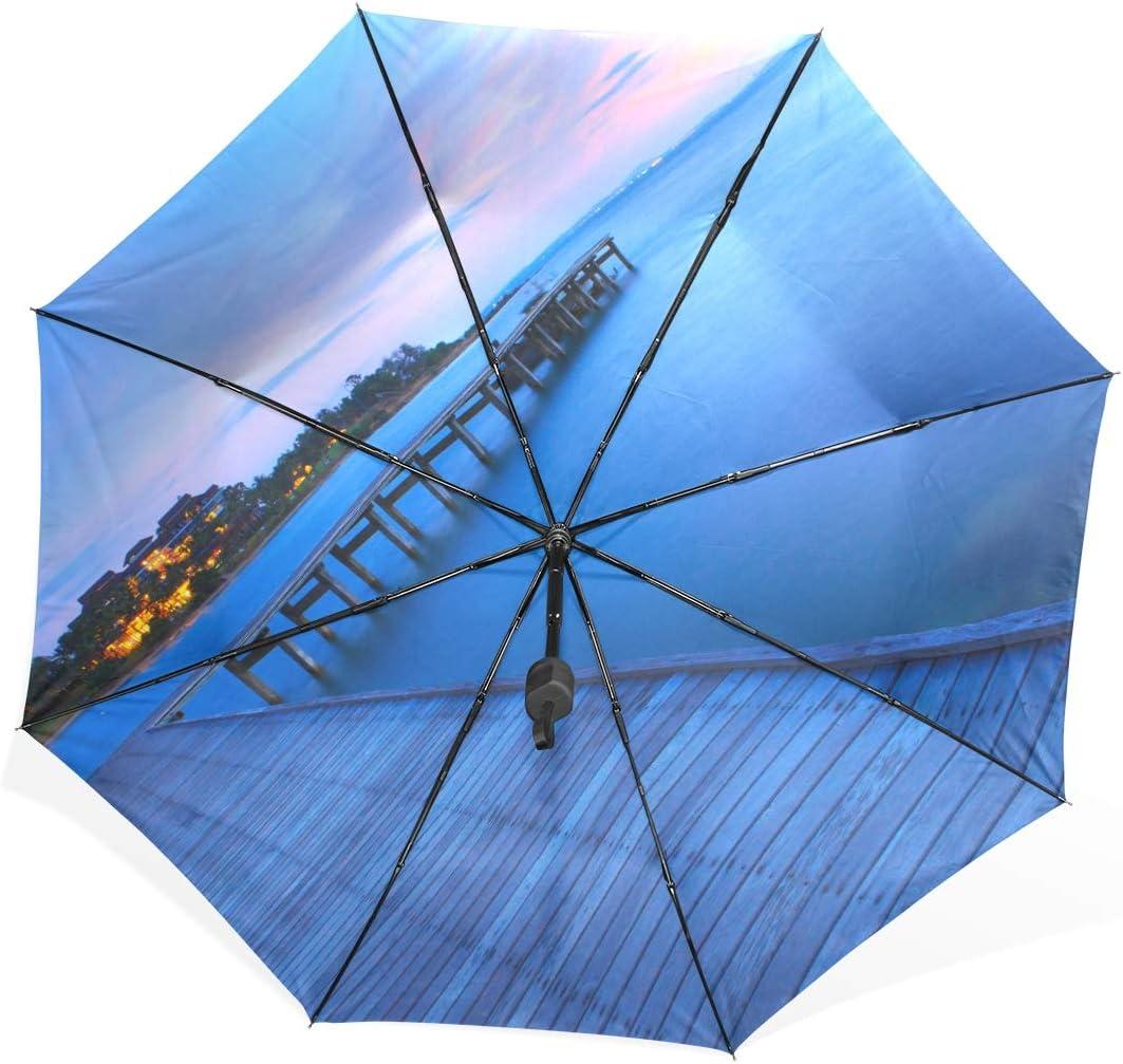 Unique Rain Umbrella Beach Decor For Wooden Bridge Panoramic Sunset Ocean View Landscape Portable Compact Folding Umbrella Anti Uv Protection Windproof Outdoor Travel Women Uotdoor Umbrella