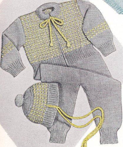 Vintage Knitting PATTERN to make - Baby Snow Suit Hat Cap 6-12 (Cap Knitting Pattern)
