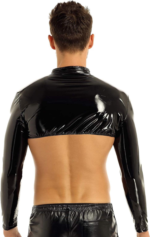 TiaoBug Homme Maillot de Corps D/ébardeur Cuir Verni T-Shirt /à Manche Longue Harnais Bandage sous-v/êtement /Érotique Lingerie Tops Tank Haut Costume Danse Clubwear M-XL