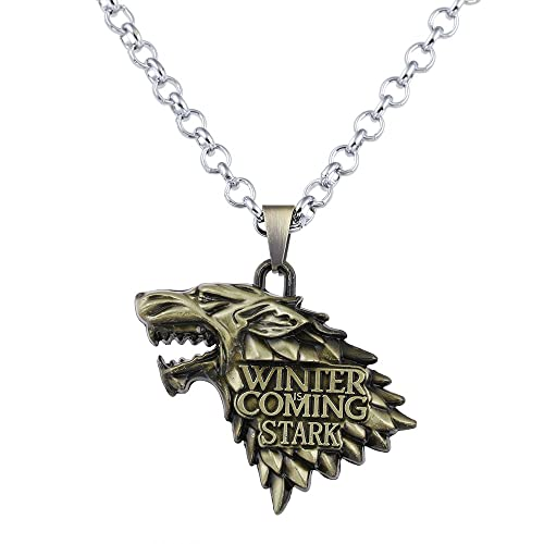 Home New Game Of Thrones House Stark Wolf Head Pendant Necklaces Silver Chain Necklaces For Men Male Boys Drop Shipping