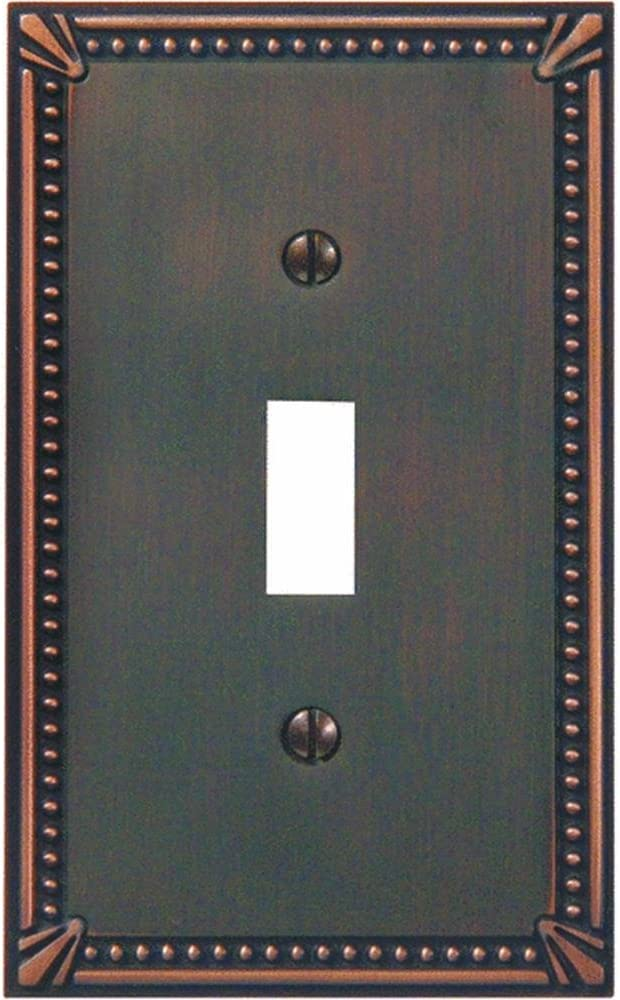Bronze Jackson Deerfield 3001AZ Imperial Bead Antique Single Toggle Wall Plate
