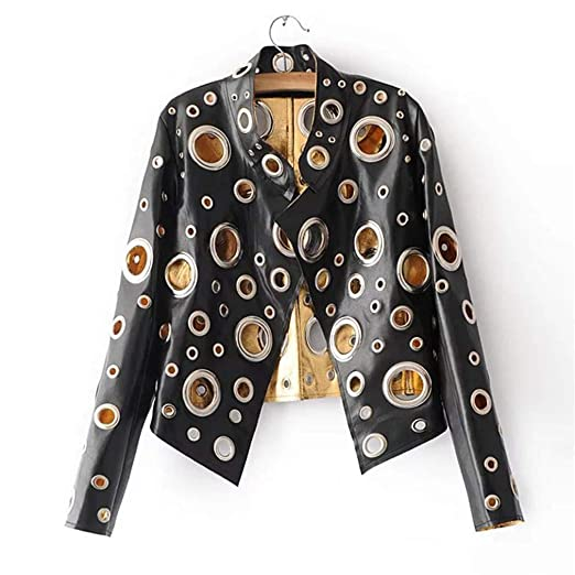 Cool Golden Leather Jacket Women Metal Circle Moto Coat Punk ...