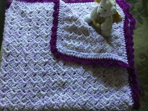 Hand Crocheted Baby Blanket 34x36inch double yarn lavender and white tulip stitch with darker purple square stitch edging. very comfy and warm for your new baby. (Blanket Crocheted Edging)