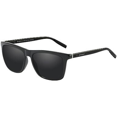 a983e4a6476 WHCREAT Unisex Retro Polarized Sunglasses Vintage Design with Unbreakable  Spring Hinge for Men and Women - Black Arms Black Lens  Amazon.co.uk   Clothing