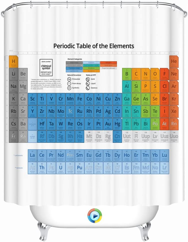 Periodic Table of the Element Shower Curtain Kids Waterproof Bathroom Supplies K
