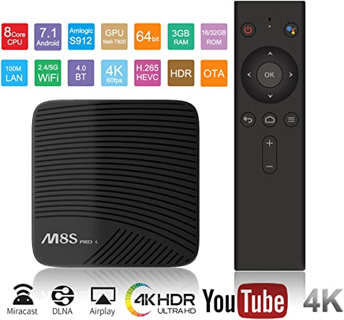 WXJHA Smart TV Box Android 7.1 Amlogic S912 Octa Core 3 GB / 32 GB Set Top Box Dual WiFi Media Player: Amazon.es: Hogar