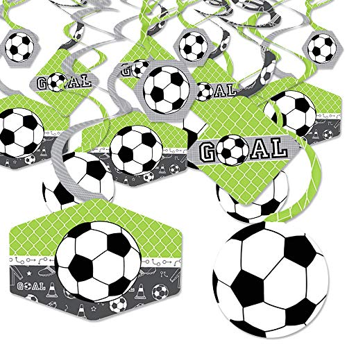Goaaal - Soccer - Baby Shower or Birthday Party Hanging Decor - Party Decoration Swirls - Set of 40