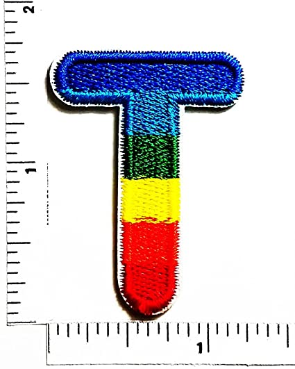 letter t english alphabet character multi color patch applique for clothes great as happy birthday gift