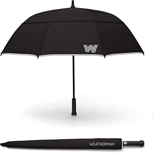 The Weatherman Umbrella – Stick Umbrella Made with Teflon-Coated Fabric and Withstands Winds Up to 55 MPH – Available in 6 Colors Black