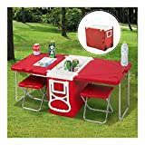 Multi Function Rolling Cooler Picnic Camping Outdoor w/Table & 2 Chairs Red